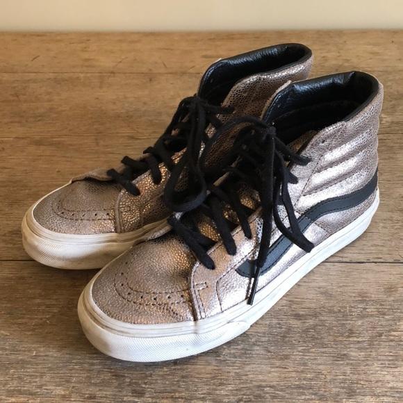 2ecb904676b82b Vans SK8 Hi Slim Metallic Leather Bronze Sneakers.  M 5b57762a1070ee0cb44c253e
